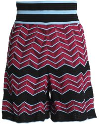 M Missoni - Woman Jacquard-knit Shorts Magenta - Lyst