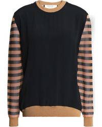 Marni - Striped Gauze-paneled French Terry Sweatshirt - Lyst