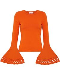MILLY - Fluted Laser-cut Stretch-knit Top - Lyst