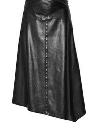 Victor Alfaro - Asymmetric Faux Leather Midi Skirt - Lyst