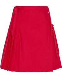 Title A - Pleated Wrap-effect Stretch-cotton Skirt - Lyst