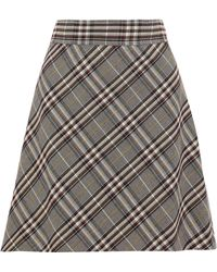 Theory - Checked Wool Mini Skirt - Lyst