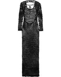 Sibling - Metallic Crocheted Maxi Dress - Lyst