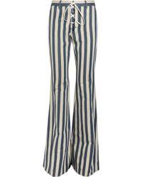 Roberto Cavalli - Striped High-rise Flared Jeans Light Denim - Lyst