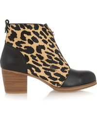 Yosi Samra - - Leather And Leopard-print Calf Hair Ankle Boots - Leopard Print - Lyst