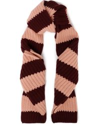 RED Valentino - Woman Striped Wool And Cashmere-blend Scarf Burgundy - Lyst
