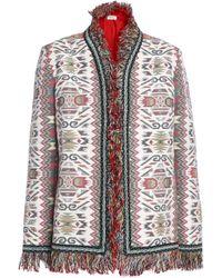 Talitha - Woman Fringed Embellished Cotton And Silk-blend Jacquard Jacket Ecru - Lyst