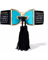 Balmain - Patent Leather-trimmed Embellished Crochet And Suede Belt - Lyst
