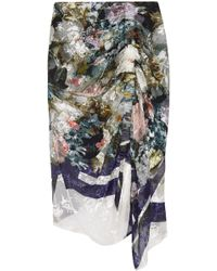 Preen By Thornton Bregazzi - Woman Terence Asymmetric Devoré Silk-blend Chiffon Midi Skirt Multicolor - Lyst