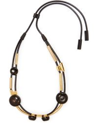 Marni - Gold-tone, Leather And Stone Necklace - Lyst