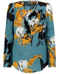 Carven - - Sequin-embellished Crinkled-satin Top - Teal - Lyst