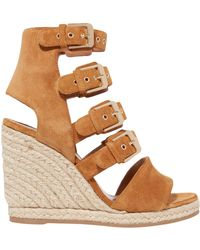 Laurence Dacade - Rosario Buckled Suede Espadrille Wedge Sandals Camel - Lyst