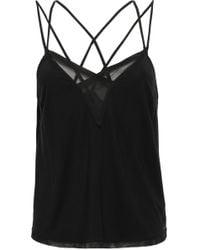 Calvin Klein - Woman Tulle-paneled Stretch-modal Pajama Top Black - Lyst