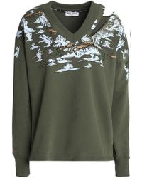 Opening Ceremony - Cutout Embellished Printed Cotton-terry Sweatshirt - Lyst