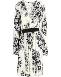 By Malene Birger - Belted Floral-print Crepe Dress - Lyst