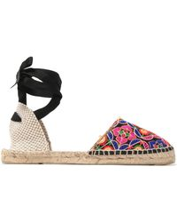 Manebí - Lace-up Embroidered Canvas Espadrilles - Lyst