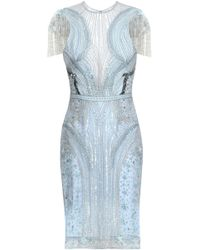 Zuhair Murad - Embellished Embroidered Silk-blend Tulle Mini Dress Sky Blue - Lyst