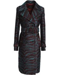 Roberto Cavalli - Double-breasted Jacquard Trench Coat - Lyst