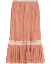 Vionnet - Lace-trimmed Plissé Silk-georgette Midi Skirt Antique Rose - Lyst