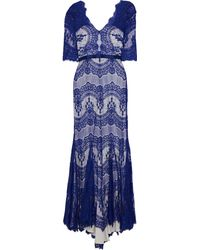 Catherine Deane Kelly Satin-trimmed Lace Gown Cobalt Blue
