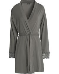 Cosabella - Sonia Lace-trimmed Stretch-cotton Jersey Robe - Lyst