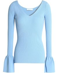 Sandro - Flared Ribbed-knit Top Light Blue - Lyst