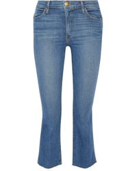 The Great - The Nerd Cropped Frayed Mid-rise Flared Jeans - Lyst