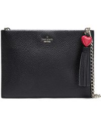 Kate Spade - Woman Tasseled Textured-leather Pouch Black - Lyst