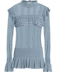 Temperley London - Woman Ruffle-trimmed Pointelle-knit Jumper Light Blue - Lyst
