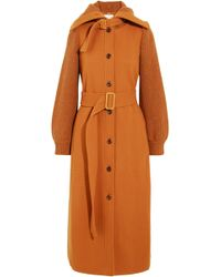 Chloé - Chloé Woman Belted Paneled Wool-felt Coat Orange - Lyst