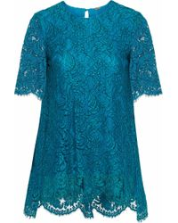 Adam Lippes - Woman Cotton-blend Corded Lace Top Petrol - Lyst