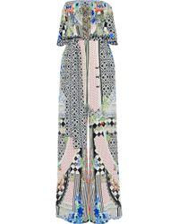 Camilla - Meet Me Here Strapless Embellished Printed Silk Crepe De Chine Jumpsuit - Lyst
