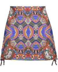 Camilla - Lace-up Printed Leather Mini Skirt - Lyst