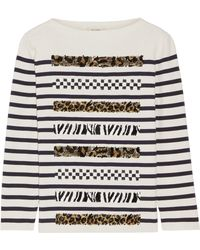 Marc Jacobs - Embellished Striped Cotton And Cashmere-blend Jumper - Lyst