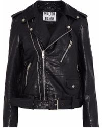 wholesale perfect quality real quality Kingsley Crinkled-leather Biker Jacket Black