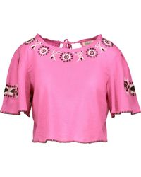 LoveShackFancy | Joni Cropped Embroidered Cotton-gauze Top | Lyst