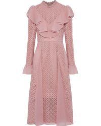 Temperley London - Prairie Ruffled Chiffon-trimmed Guipure Lace Dress Antique Rose - Lyst