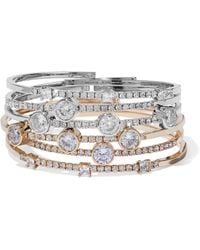 CZ by Kenneth Jay Lane - Set Of Six Gold And Silver-tone Crystal Bangles - Lyst