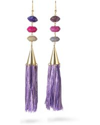 Rosantica - Gold-tone Stone Tasselled Earrings - Lyst