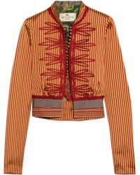 Etro - Appliquéd Striped Silk Jacket - Lyst