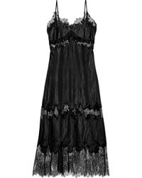 Robert Rodriguez Chantilly Lace-paneled Crinkled-shell Midi Slip Dress Black
