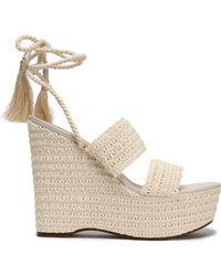 Schutz - Lace-up Shirred Crochet Platform Wedge Sandals - Lyst