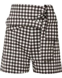 Silvia Tcherassi - Woman Sella Belted Gingham Cotton-blend Shorts Black - Lyst