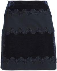 Sandro Lace-trimmed Velvet And Ponte Mini Skirt Navy - Blue