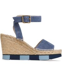 Paloma Barceló - Suede Wedge Platform Sandals - Lyst