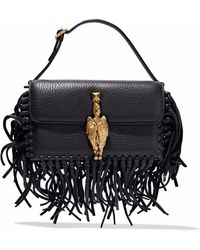 Valentino - Gryphon Fringe-trimmed Textured-leather Clutch - Lyst