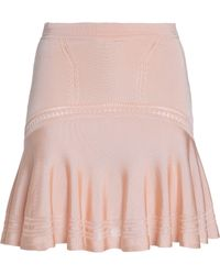 Roberto Cavalli - Pleated Lace-trimmed Stretch-knit Skirt - Lyst