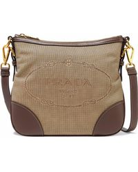 Prada - Leather-trimmed Canvas Shoulder Bag - Lyst