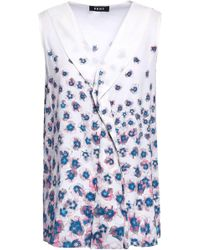 DKNY - Woman Ruffled Floral-print Crepe De Chine Blouse Off-white - Lyst