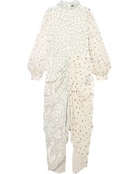 JOSEPH - Fay Ruched Printed Devoré Silk-blend Chiffon Midi Dress Off-white - Lyst